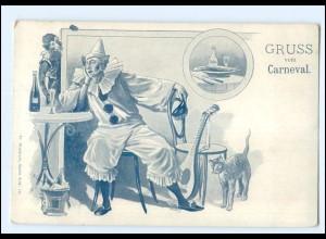 U9065/ Gruß vom Karneval Pierrot AK ca.1900
