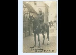 Y15349/ Flensburg Soldat mit Pickhaube zu Pferde Foto AK 1911
