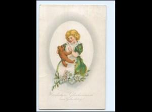 Y14512/ Geburtstag Mädchen mit Teddy Litho AK 1921