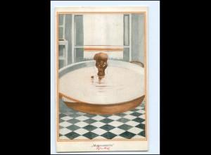 """U9095/ Farbige schwarzes Kind badet, """"Mohrenwäsche"""" Humor AK ca.1912"""