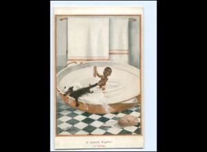 U9096/ Farbige schwarzes Kind badet, Katze AK ca.1912 Humor