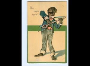 V142/ Farbiger spielt Banjo Litho Präge AK Black American 1907