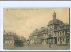 XX007769/ Belgien St. Ghislain Bibliotheque Straßenbahn AK