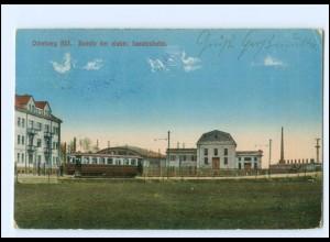 XX009081/ Oderberg Bahnhof elektrische Landesbahn AK 1914 Straßenbahn