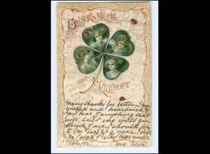 Y14607/ Glückskarte mit Kleeduft Kleeblatt Litho Prägedruck AK 1902