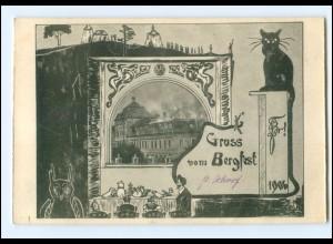 Y14610/ Studentika Gruß vom Bergfest 1906 Kater Katze