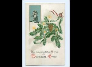 Y14613/ Weihnachten Briefträger Postbote Litho Präge AK 1916
