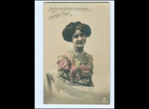 Y14690/ Junge Frau schöne Foto AK 1910