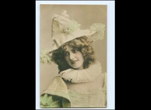 Y14692/ Junge Frau mit Hut schöne Foto AK 1907
