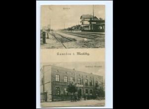 XX008319-193./ Ganzlin Bahnhof Gasthaus Hinzpeter 1915 AK
