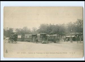XX008225/ Frankreich Paris Station du Tramway Straßenbahn ca.1900 AK
