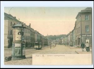 XX009131-8670/ Hof i. B. Untere Ludwigstr. Straßenbahn Litfaßsäule AK 1911