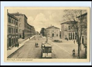XX008154/ Neu-Ulm Partie beim Bahnhof Straßenbahn 1917 AK