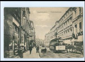 XX008207/ Saarbrücken Victoriastraße Straßenbahn 1912 AK