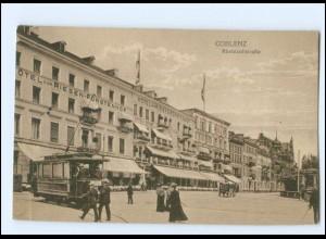 XX008194/ Koblenz Rheinzollstraße Straßenbahn 1918 AK