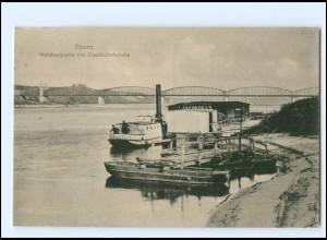 XX008550/ Westpreußen Thorn Weichselpartie mit Eisenbahnbrücke 1916 AK