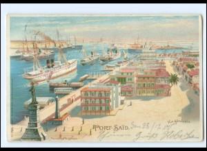 XX009152/ Port Said Port Hafen Ägypten Egypte Litho AK 1900