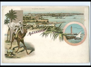 XX009149/ Souvenir d`Alexandrie Litho AK Ägytpen Egypte ca.1900