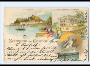 XX009161/ Korfu Souvenir de Corfou Griechenland Ganzsache Litho AK 1900