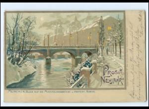 XX009055/ München Maximilianbrücke Zeno-Diemer Litho AK Neujahr 1898