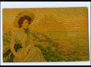 """Y15050/ Degi-Gemälde AK junge Frau """"Meeresrauschen"""" ca.1915"""