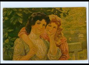Y15051/ Degi-Gemälde AK zwei junge Frauen Schwestern ca.1915