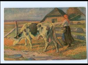 Y15054/ IMITA Ölkunst AK Landwirtschaft Kuh ca.1920
