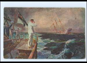 XX008970/ Der letzte Gruß Abschied der Emden Marine AK + Schiffspost Nr. 200