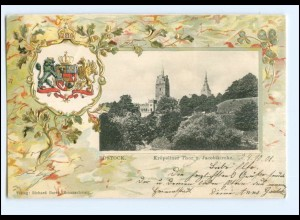 XX008591/ Rostock schöne Litho Präge Wappen AK 1901