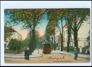 XX008763/ Hamburg Harburg Buxtehuderstraße Straßenbahn 1916 AK