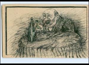 XX009243/ Handgemalte AK 1903 alter Mann trinkt Wein