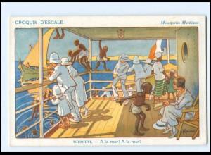 XX009015/ Croquis D`Escale Dschibuti Ostafrika Künstler AK H. Gervese Maritim