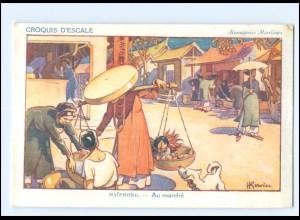 XX009007/ Croquis D`Escale Haipong Vietnam Künstler AK H. Gervese Maritim