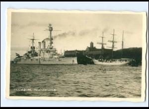 Y15351/ Flensburg Mürwik Schulschiff Niobe und Kriegsschiff Foto AK ca.1930