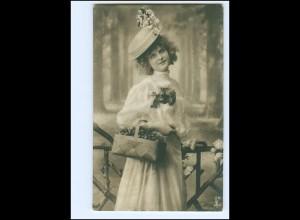 Y15103/ Hübsche junge Frau mit Hut Foto AK 1907