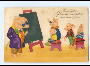Y15137/ Neujahr Schweine-Schule Litho AK 1929