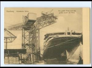 Y15136/ Hamburg Hafen Der größte Kran der Welt, Dampfer Bismarck ? 1914