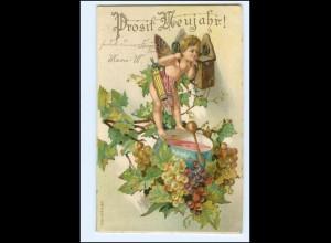 Y15257/ Neujahr Amor Telefon Trauben Litho Prägedruck AK 1903
