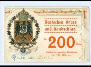 Y15258/ 200 jährige Jubelfeier des peuss. Königshaus Wappen Litho AK 1901