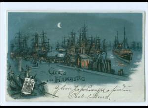 Y15371/ Gruß aus Hamburg Hafen Schiffe 1900 Litho AK