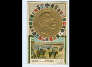 U9349/ Gruß von der Parade Kaiser Wilhelm Litho Prägedruck AK 1911