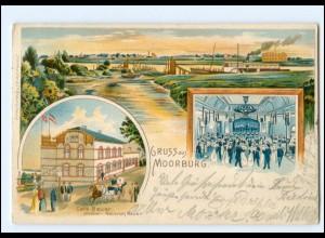 U9634/ Hamburg GRuß aus Moorburg Cafe Bauer Litho AK 1907