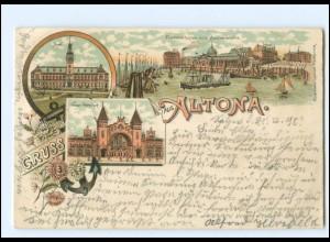 U9337/ Gruß aus Altona Hamburg Litho AK 1898