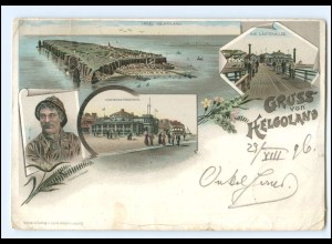 Y16004/ Gruß aus Helgoland Litho Ak 1896