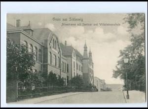 Y15391/ Schleswig Alleestraße mit Seminar und Wilhelminenschule AK