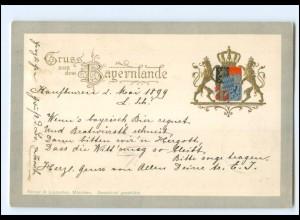Y15226/ Gruß aus dem Bayernlande Wappen Prägedruck AK 1899