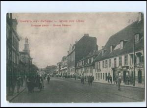 U9558/ Libau Große Straße AK Lettland 1915