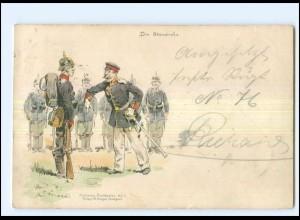 "U9541/ C.Becker Litho Militär ""Die Standrede"" 1898"