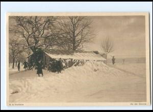 Y15215/ A la frontiere Grenze Schweiz Militär Ak ca.1918