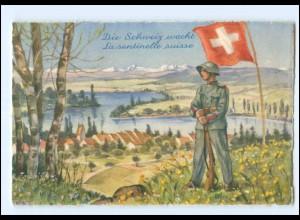 Y15208/ Die Schweiz wacht Soldat Militär Ak ca.1940